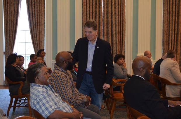 "Biloxi Mayor Andrew ""FoFo"" Gilich speaks with residents prior to the start of Monday's special call meeting of the Biloxi City Council. (City of Biloxi)"