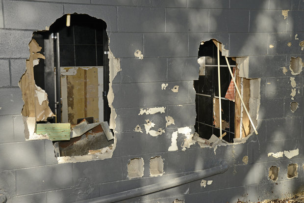 This June 20, 2016, photo released by the City of Orlando shows bullet holes and openings where police officers breached a wall of the Pulse nightclub to free hostages trapped in the worst mass shooting in modern U.S. history on the night of June 12, 2016. (AP)