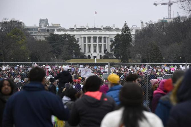 AP/FILE Demonstrators attended the Women's March on Washington near the White House on Saturday.