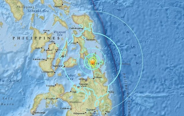 This U.S. Geological Survey map shows the location of a late Friday earthquake with a magnitude of 6.5 that roused residents from sleep in Surigao del Norte province in the southern Philippines. (USGS.gov)