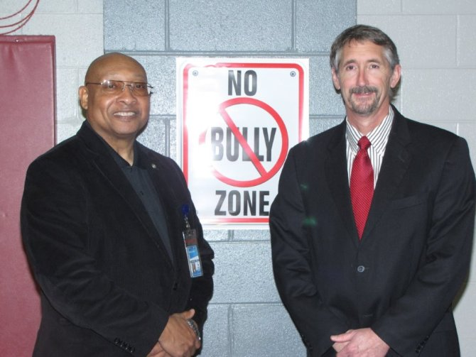 John Neal, Ed.S. associate superintendent of Community Relations and Ben Lundy, principal, Byram Middle School