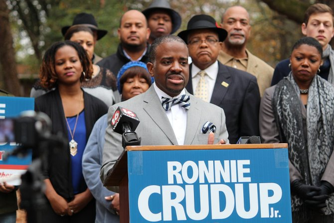 Ronnie Crudup Jr. announcing his candidacy for mayor of the city of Jackson backed by family, friends and supporters.