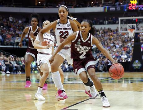 Mississippi State guard Morgan William (2) drives around South Carolina forward A'ja Wilson (22) during the first half in the final of NCAA women's Final Four college basketball tournament, Sunday, April 2, 2017, in Dallas. (AP Photo/Tony Gutierrez)
