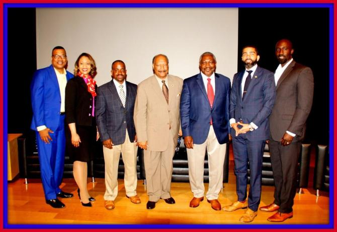 Top five mayoral candidates (starting 3rd from the left) Ronnie Crudup Jr., Robert Graham, John Horhn, Choke A. Lumumba and incumbent Mayor Tony Yarber                                                                                                                                                                  Photo by Jay Johnson