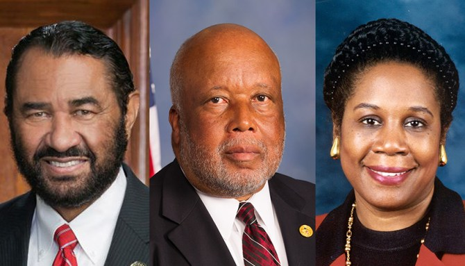 Some Gulf Coast lawmakers believe that at least $150 billion will be needed just to aid Texas residents in reconstruction. (From left-right) Rep. Al Green (D-Texas), Rep. Bennie G. Thompson (D-Miss.), Rep. Sheila Jackson Lee (D-Texas)