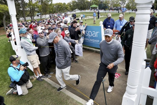Tiger Woods leaves the practice green moments before driving the first tee while playing the Copperhead Course on Thursday, March 8, 2018, during the first round of the Valspar Championship at the Innisbrook Golf and Spa Resort in Palm Harbor, Fla. (Douglas R. Clifford/The Tampa Bay Times via AP)
