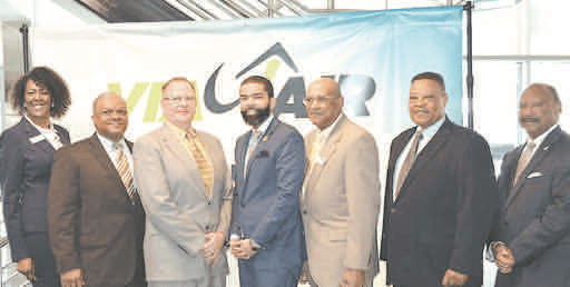 Evelyn Reed, JMAA commissioner; James Henley Jr., JMAA commissioner/chairman; Donald Bowman, Via Air; Mayor Lumumba; LTC(R) Lucius Wright, JMAA commissioner; Carl Newman, CEO, Jackson Medgar Wiley Evers International Airport; and Robert Graham, Hinds County Supervisor JMAA FACEBOOK PHOTOS