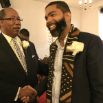 Pastor Michael T. Williams and Mayor Chokwe Antar Lumumba at Men's Day service PHOTO BY JACKIE H. HAMPTON