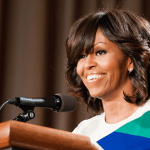 Former First Lady Michelle Obama has joined a number of actors, musicians and professional athletes to encourage people to register and vote. In this photo, First Lady Michelle Obama thanks U.S. Department of Agriculture (USDA) employees for their service and dedication at the Jefferson Auditorium, USDA, May 3, 2013. Bob Nichols/USDA/Wikimedia Commons