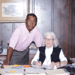 Gregory Adams (left), new owner of WTYJ 97.7 FM / WMIS 1240 AM in Natchez, has taken the reins from Diana Nutter (right).