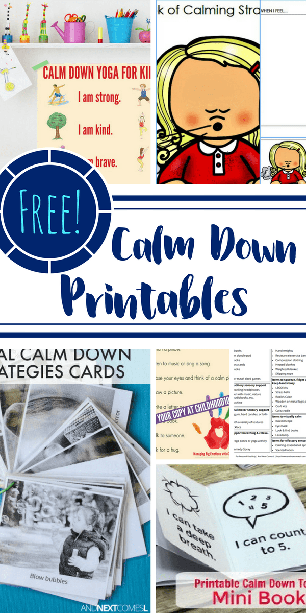 Here are FREE calm down printables that are effective in teaching and providing kids with the necessary skills to calm down. Print these out, keep them in your purse, hang them on a wall, stick them to the fridge, and you will notice a difference.