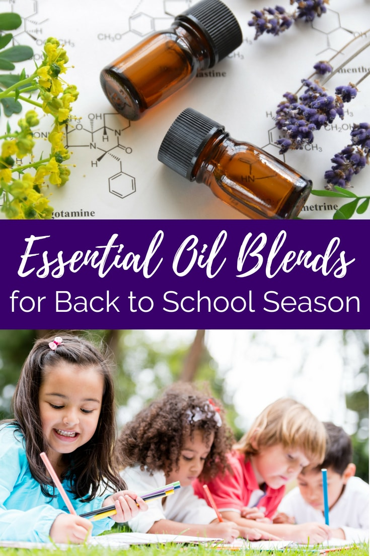 """essential oil bottles and kids working text overlay """"essential oil blends for back to school season"""""""