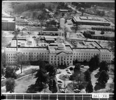 Milledgeville, ca. 1950s-1960s. Aerial view of Milledgeville State Hospital complex, now known as Central State Hospital.
