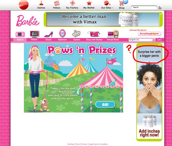 Barbie Website Ad Fail