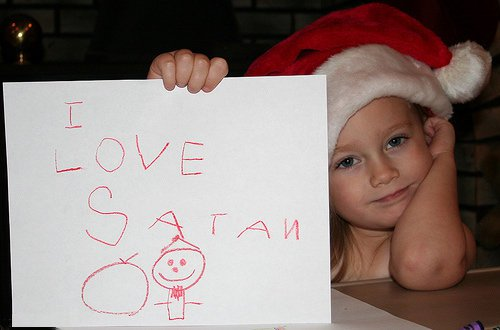 Kid loves Satan (Santa)