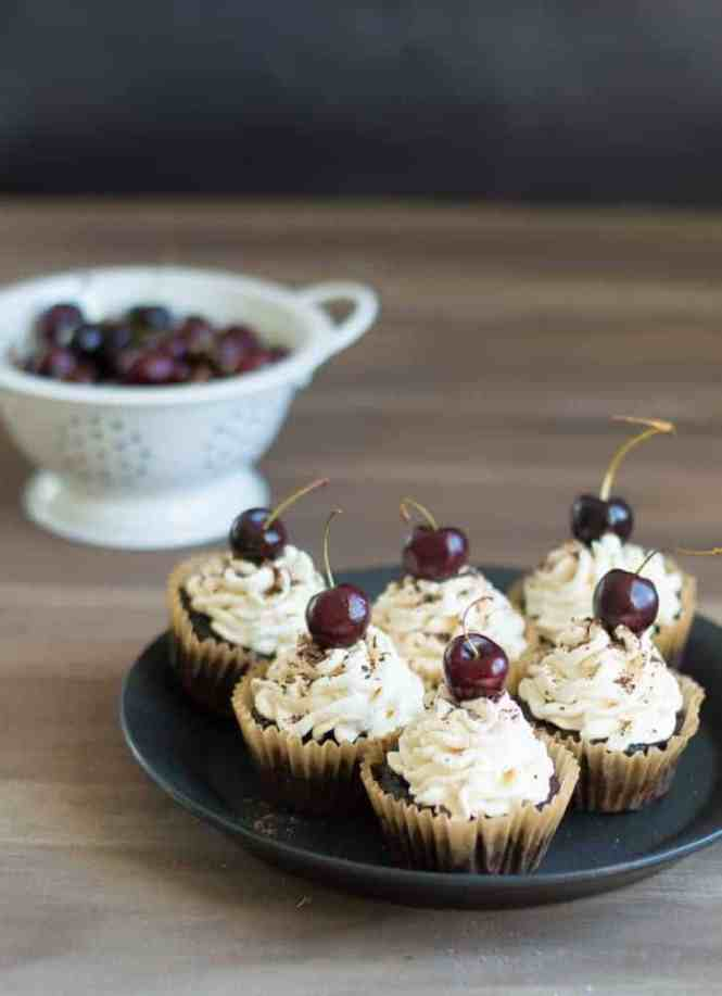 These Black Forest Stuffed Cupcakes are the perfect treat. They are stuffed with homemade cherry filling and extremely decadent. TheMovementMenu.com
