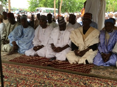 Yobe Deputy Gov. Abubakar Aliyu with the APC National Secretary Maimala Buni, Speaker Adamu Dala Dogo, SSG Baba Malam Wali at the Yobe Mosque Eid ground in Damaturu.
