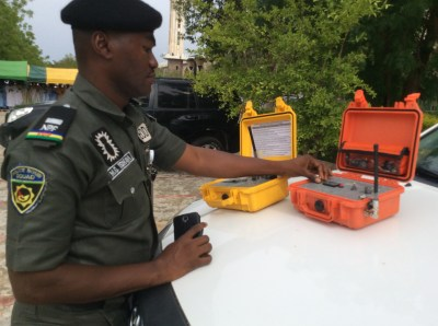 Police bomb expert ensuring high security surveillance at the Eid ground in Damaturu