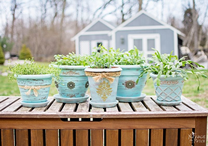 Refinishing Old Flower Pots - TheNavagePatch.com