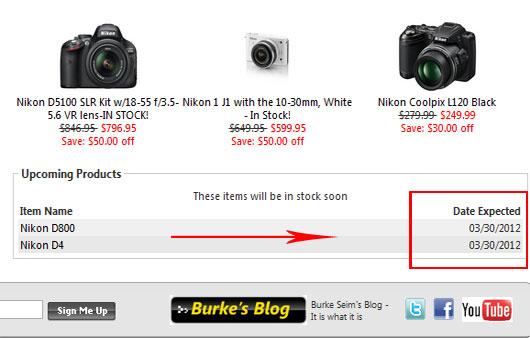 Bikon D800 and D4 Stock Status