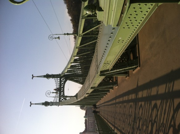 """One of the bridges over the Danube. This one is named """"The Liberty Bridge,"""" as named by the Russians after they """"liberated"""" Budapest in WWII. Like many Soviet political phrases, it means the opposite - think """"5-Year Plan"""" or """"Affordable Care Act."""""""