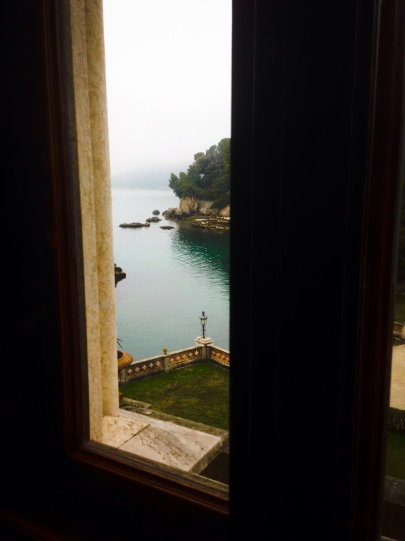 Miramare has its own boat landing, viewed here from one of the castle windows.