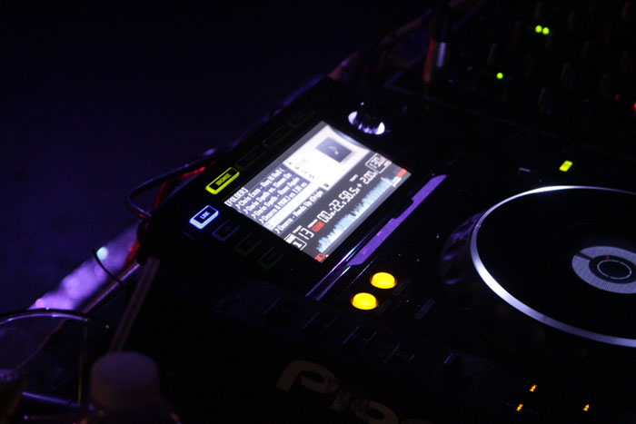 A shot of the DJ's turn table.