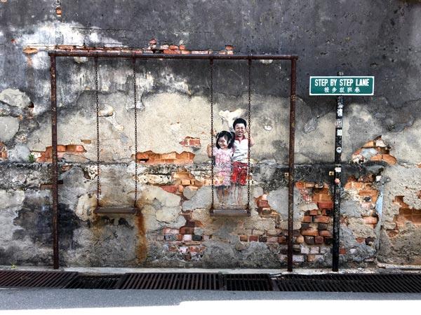 Penang Street Art - Gat Lebuh Chulia Swing