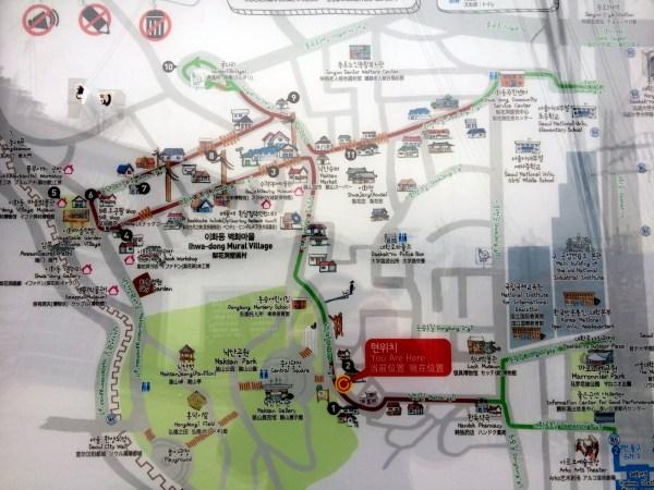 Seoul Ihwa Mural Village Map HiRes
