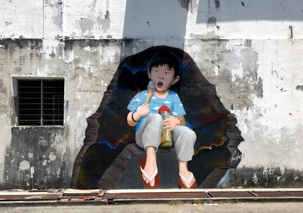 Penang Street Art - Lebuh Tye Sin Boy
