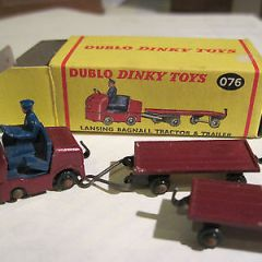 Dublo dinky toys Lansing Bagnall Tractor & 2 trailers boxed, ref 076