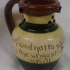 RARE WELSH POWELL'S BUCKLEY POTTERY ANTIQUE MOTTO WARE PUZZLE JUG c.1900  (wo)