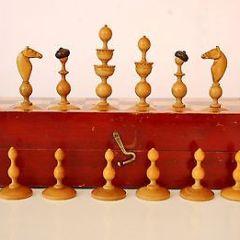 Antique Austrian Biedermeier Chess Set w.o. Inlayed Box, c.1840