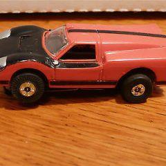 Vintage HO Scale Slot AURORA Race Car~ FORD J Car- Red/Black~complete~Very Nice!