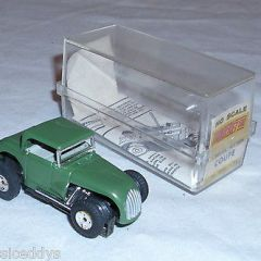 AURORA MODEL MOTORING THUNDER JET HOT ROD COUPE 1960s SLOT CAR IN GREEN BOXED