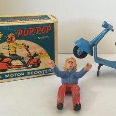 RARE 1940s Moko England Blue POP POP Scooter Box & Rider Lesney Dinky Corgi RARE