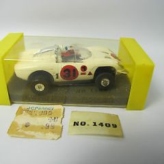 Vintage Aurora T-Jet #1409 Alfa Romeo White Chrome Roll Bar HO Slot Car In BOX