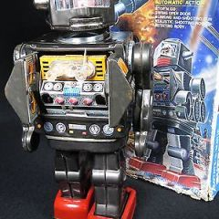 VINTAGE HORIKAWA SH JAPAN TIN B/O SPACE ROBOT ROTATE-O-MATIC SUPER ASTRONAUT TOY