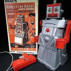 VINTAGE IDEAL'S 1950's ROBERT the ROBOT SPACE TOY B/O & CRANK POWERED BOXED
