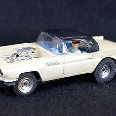 VINTAGE O GAUGE  LARGE  SUPER AURORA HO SLOT CAR 57 T BIRD  MODEL RACE CAR  RARE
