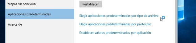 Opciones para administrar aplicaciones predeterminadas en Windows 10