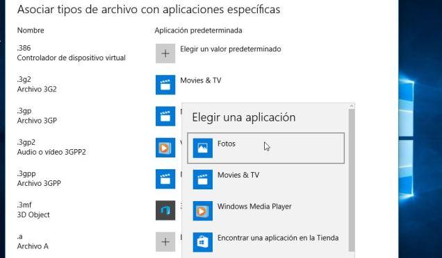 Tipo de archivo - administrar aplicaciones predeterminadas en Windows 10