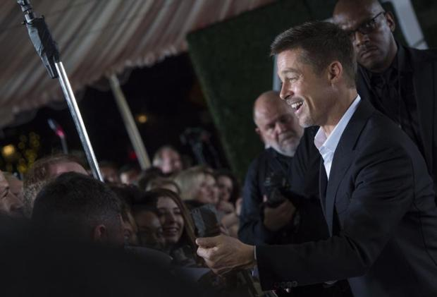 Actor Brad Pitt attends the fan event for Paramount Pictures' Allied at Regency Village Theatre on November 9, 2016. (AFP)