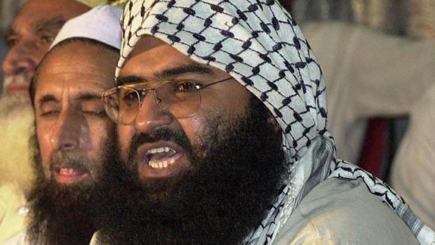 In this file picture, Jaish-e-Mohammad chief Masood Azhar, a militant released from an Indian jail in 1999 in exchange for Indian airliner hostages, addresses a meeting of Pakistan's religious and political parties in Islamabad against the UN monitors. (AFP File Photo)