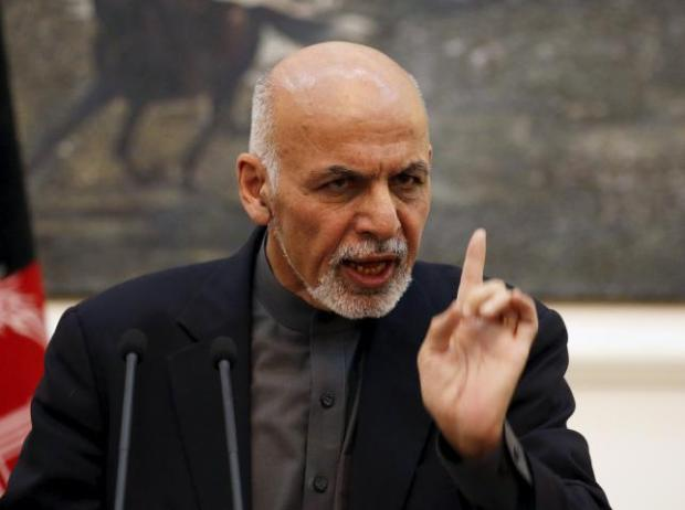 Afghanistan's President Ashraf Ghani speaks during a news conference in Kabul