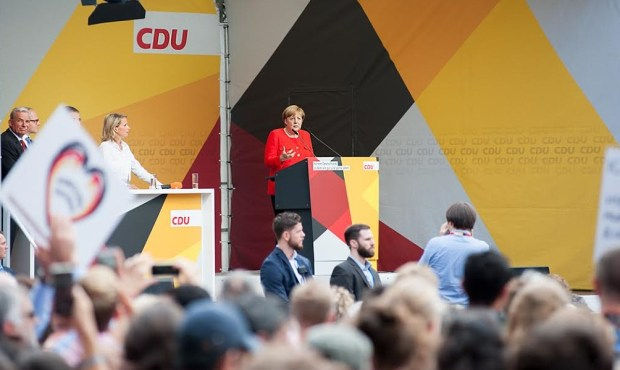 German Chancellor Angela Merkel addresses the audience during an election campaign rally in Heidelberg.