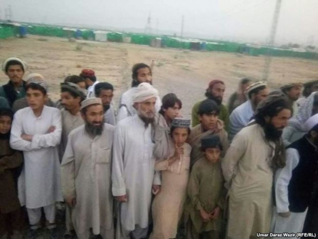 Some of the displaced Mehsud tribespeople in Bakkakhel displacement camp in northwestern Pakistan.