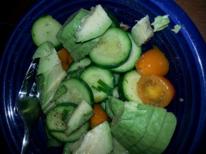 Delicious salad from my garden veggies, with added avocado