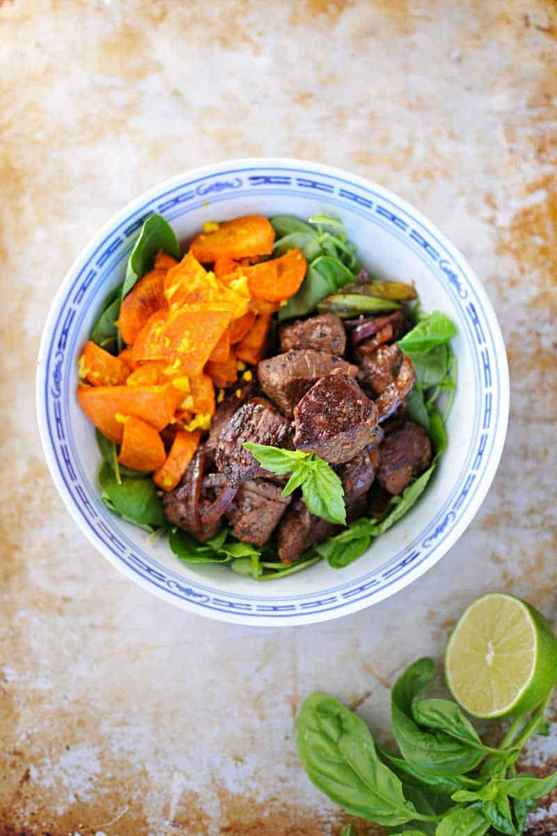 Vietnamese Shaking Beef with Gingered Sweet Potatoes recipe (via thepigandquill.com) // #grainfree #paleo