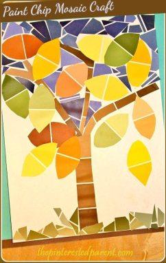 Paint Chip Mosaic Fall Tree Craft